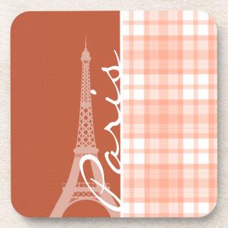 Paris; Cute Orange Plaid Coasters
