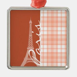 Paris; Cute Orange Plaid Ornaments