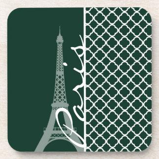 Paris; Dark Green Quatrefoil Coaster