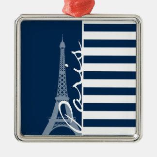 Paris; Dark Midnight Blue Horizontal Stripes Ornaments