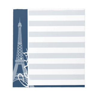Paris; Dark Midnight Blue Horizontal Stripes Notepad