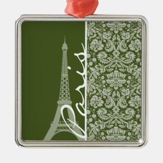 Paris; Dark Moss Green Damask Ornament