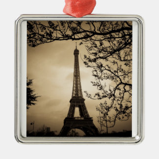 Paris Square Metal Christmas Ornament