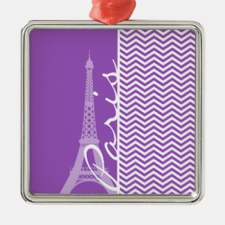 Paris; Deep Lilac Chevron Stripes Christmas Ornaments