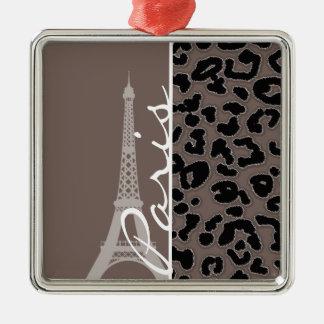 Paris; Deep Taupe Leopard Animal Print Christmas Tree Ornaments