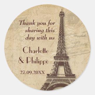 Paris Destination Wedding Classic Round Sticker