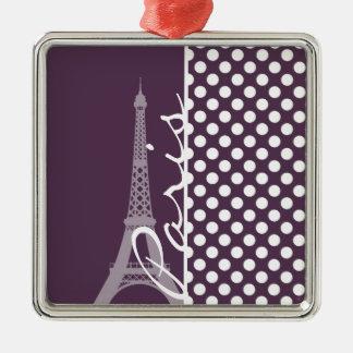 Paris; Eggplant Purple Polka Dots Christmas Ornament