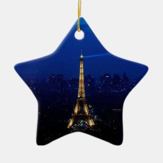 Paris Eifel Tower At Night Ceramic Star Decoration