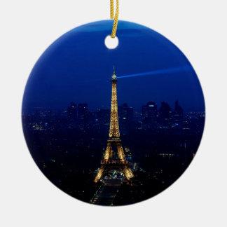 Paris Eifel Tower At Night Round Ceramic Decoration