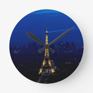 Paris Eifel Tower At Night Round Clock
