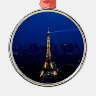 Paris Eifel Tower At Night Silver-Colored Round Decoration
