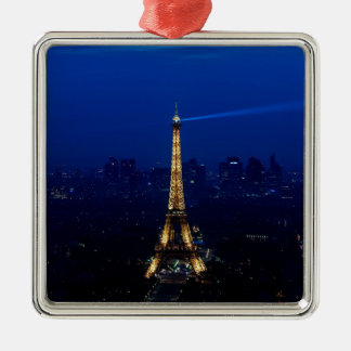 Paris Eifel Tower At Night Silver-Colored Square Decoration