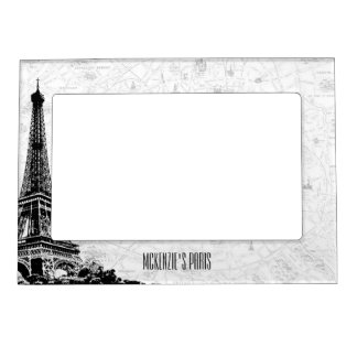 Paris Eiffel Tower Add Your Name Magnetic Picture Frame