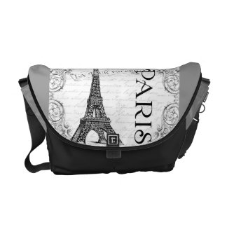 Paris Eiffel Tower and Scrolls Courier Bag