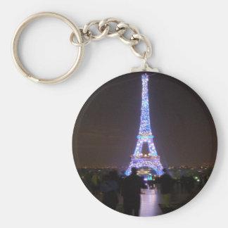 Paris Eiffel Tower at Night Basic Round Button Key Ring