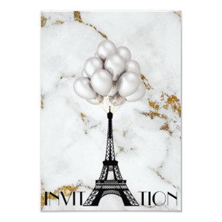 Paris Eiffel Tower Balloons Marble Gold Card