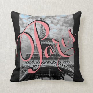 Paris Eiffel Tower Black and White Throw Pillow