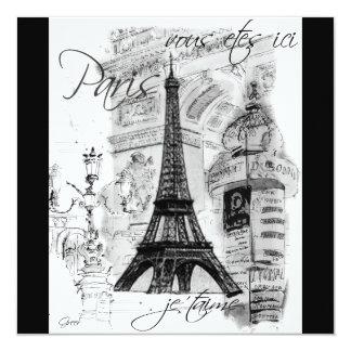 Paris Eiffel Tower Black & White Collage 13 Cm X 13 Cm Square Invitation Card