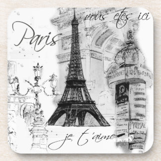 Paris Eiffel Tower Black & White Collage Drink Coasters