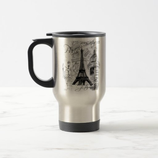 Paris Eiffel Tower Black & White Collage French Stainless Steel Travel Mug