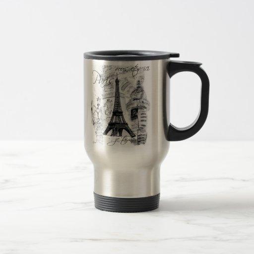 Paris Eiffel Tower Black & White Collage French Stainless Steel Travel Mug
