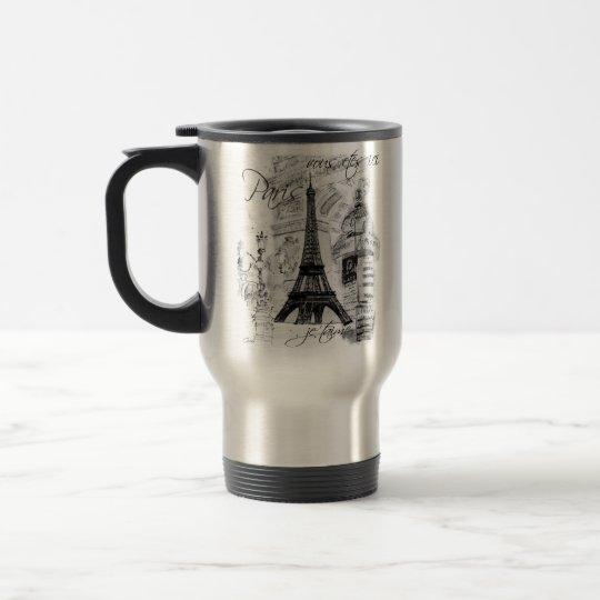 Paris Eiffel Tower Black & White Collage French Travel Mug