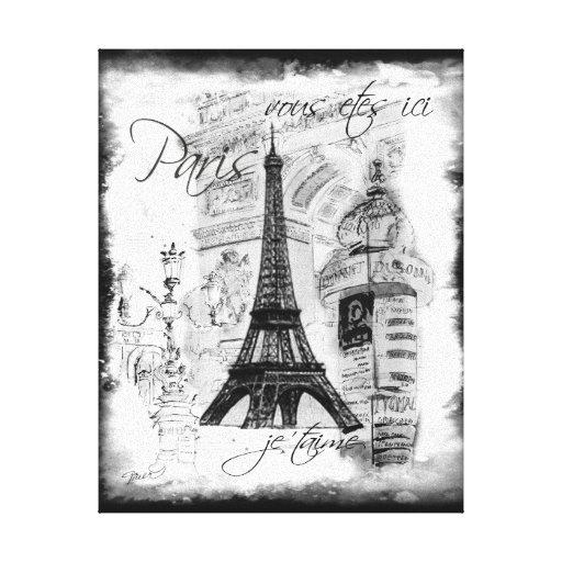 Paris Eiffel Tower Black & White Collage Scene Stretched Canvas Prints