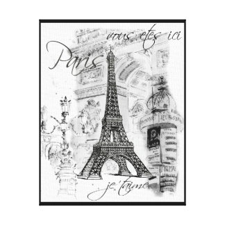 Paris Eiffel Tower Black & White Collage Scene Gallery Wrapped Canvas