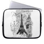 Paris Eiffel tower Black & White Collage Scene Laptop Computer Sleeve