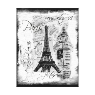 Paris Eiffel Tower Black & White Collage Scene Stretched Canvas Print