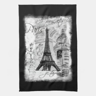 Paris Eiffel Tower Black & White Collage Scene Tea Towel
