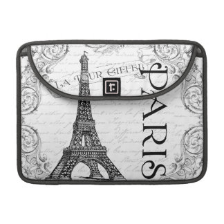 Paris Eiffel Tower Black & White Collage Sleeve For MacBook Pro