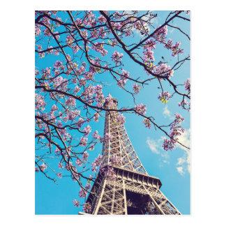 Paris Eiffel Tower Blooms in Springtime Postcard
