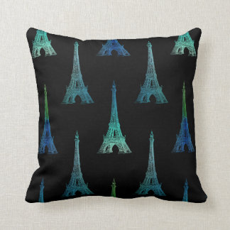 Paris Eiffel Tower Blue Black Throw Pillow