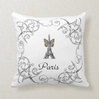 Paris Eiffel Tower Butterfly Pillow