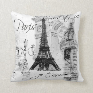 Paris Eiffel Tower Collage Black & White Cushion