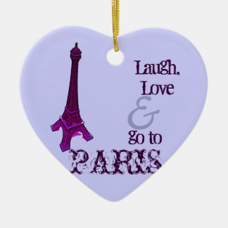 Paris, Eiffel tower - Double-Sided Heart Ceramic Christmas Ornament