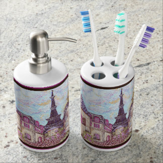 Paris Eiffel Tower dots inspired bathroom set