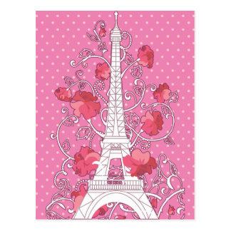 Paris Eiffel tower elegant stylish silhouette Postcard