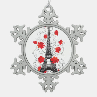Paris Eiffel tower elegant stylish silhouette Snowflake Pewter Christmas Ornament