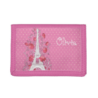 Paris Eiffel tower elegant stylish silhouette Tri-fold Wallet