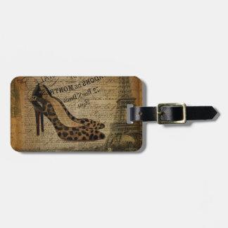 paris eiffel tower fashionista girly shoes luggage tag