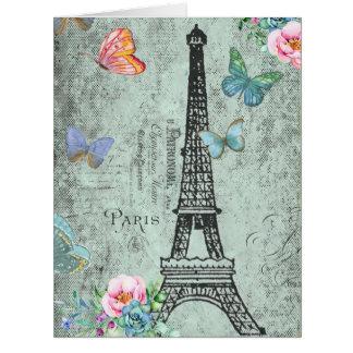 Paris-Eiffel Tower-Flower-Floral-Vintage-Roses Card