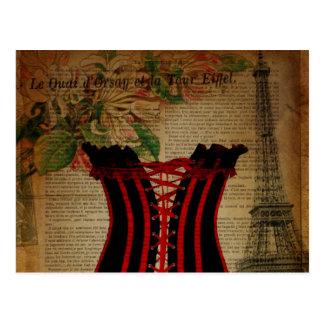 paris eiffel tower flower vintage corset postcard