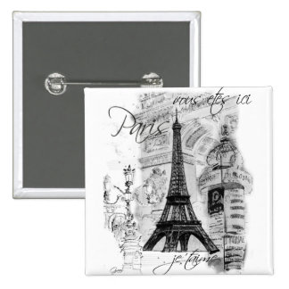 Paris Eiffel Tower French Scene Collage 15 Cm Square Badge
