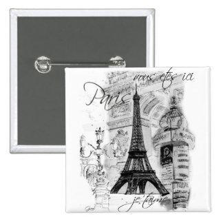Paris Eiffel Tower French Scene Collage 15 Cm Square Badge