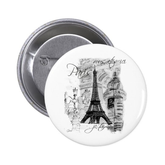 Paris Eiffel Tower French Scene Collage 6 Cm Round Badge
