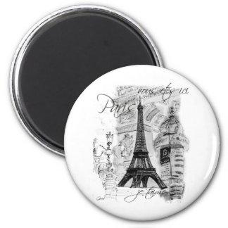 Paris Eiffel Tower French Scene Collage 6 Cm Round Magnet