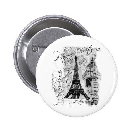 Paris Eiffel Tower French Scene Collage 6 Cm Round Badge