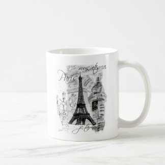 Paris Eiffel Tower French Scene Collage Basic White Mug